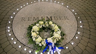 """The words """"Remember"""" inscribed on the circle outside of Boland Hall commemorating the B..."""