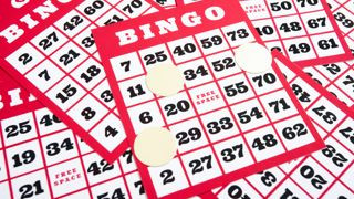 Bingo cards and numbers.